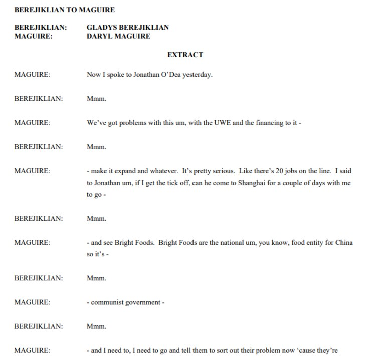 Part of a transcript of a call between Gladys Berejiklian and Daryl Maguire.