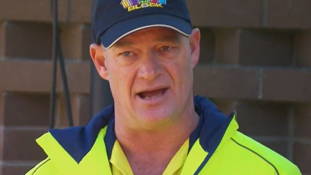 Keith was not happy with the state of Harry and Tash's building site. Picture: Channel 9