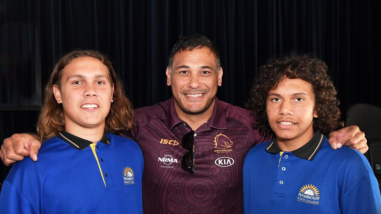 Broncos legend Justin Hodges meets Nambour State College students Zarley Hodges and Manaji Fleiter for the launch of Beyond the Broncos Academy. Picture: Patrick Woods