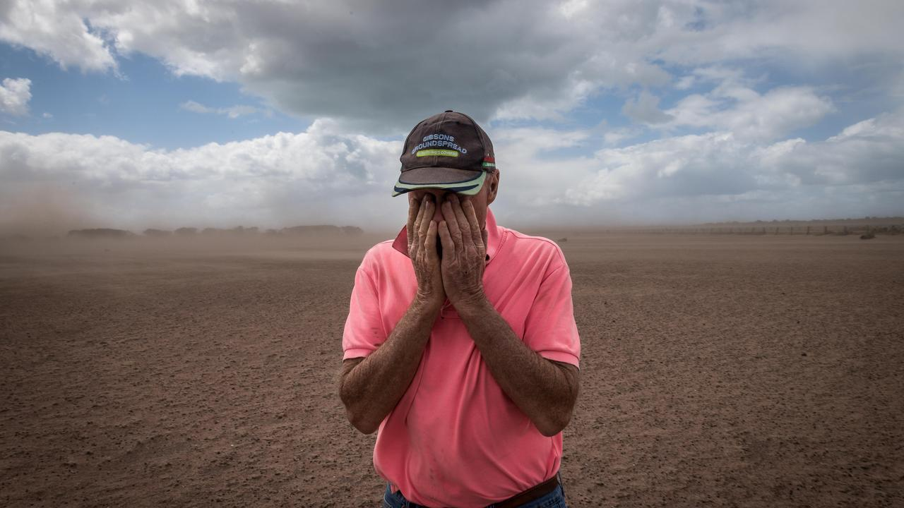 A Gippsland farmer's sense of complete hopelessness in the face of an unforgiving drought in 2017 is captured here by photographer Jake Nowakowski. Farmer Dan Boland wiping dirt from his eyes after strong winds whipped up a dust storm at his property in Darriman, expertly illustrated the devastation of the drought and highlighted the barren landscape.