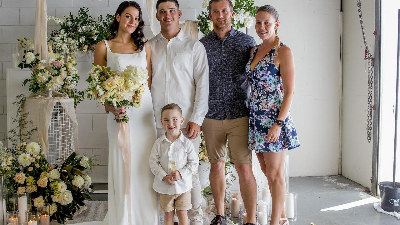 Gold Coast couple Tahlia Schwarz and Adam Keevers with Adam's son Braxton Keevers, 4, and witnesses Ben Keevers and Kylie Keegan after their snap wedding. Picture: Jerad Williams