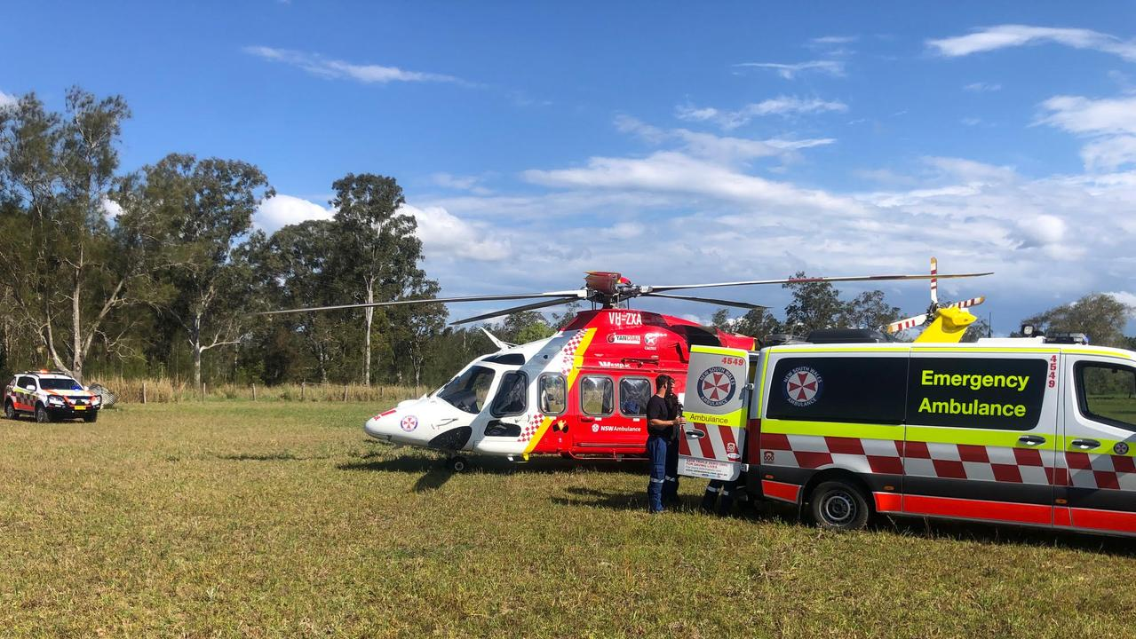 The Westpac Rescue Helicopter and ambulance paramedics stabilised a 75yo woman who rolled her car near Pillar Valley this afternoon. Photo: Westpac Rescue Helicopter