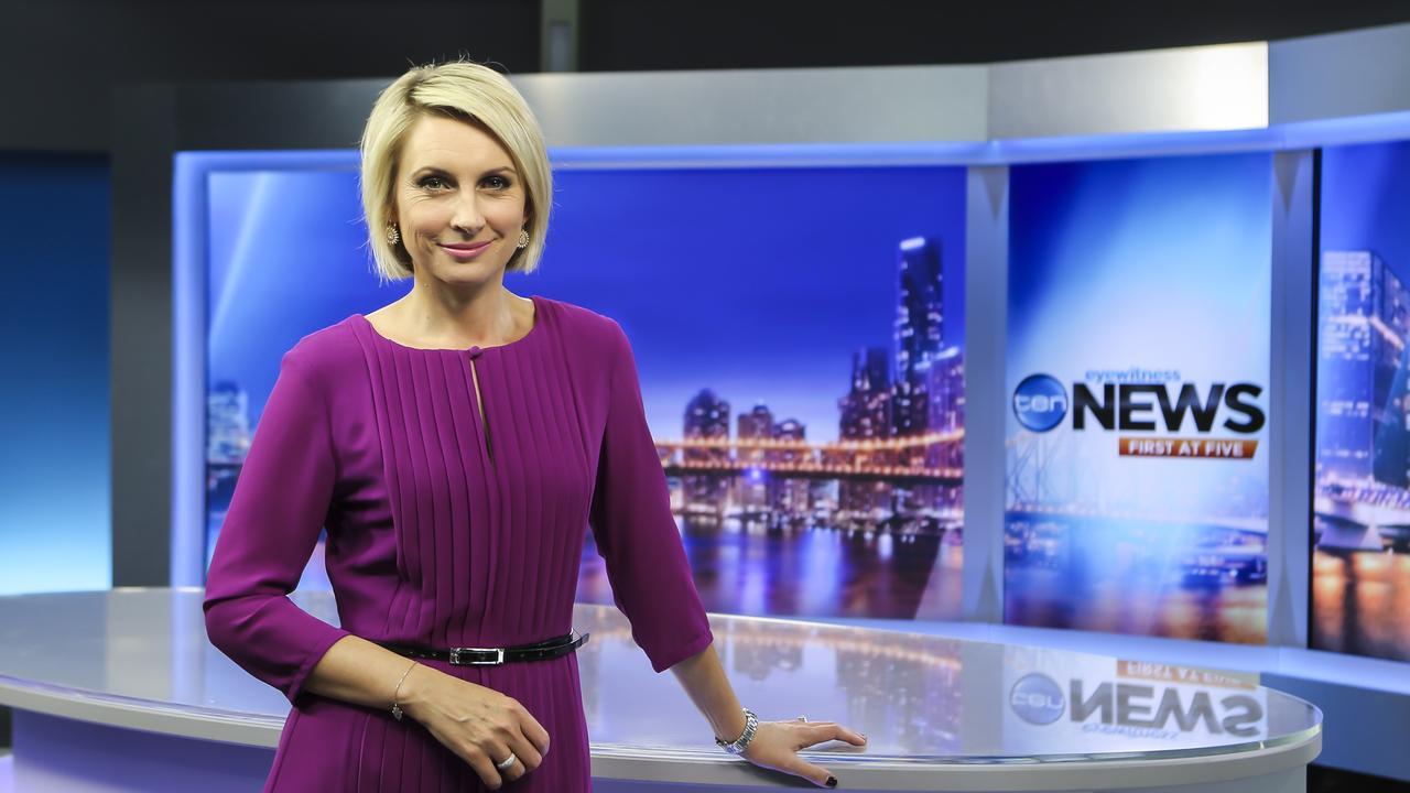 Newsreader Georgina Lewis pictured in the Ten News studio in 2015. Picture: Mark Cranitch.