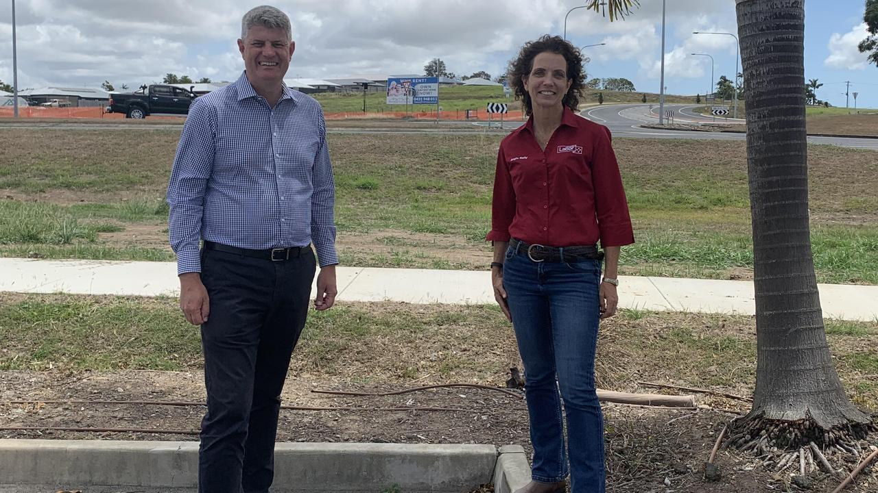 Local Government Minister Stirling Hinchliffe with Labor Whitsunday candidate Angie Kelly. Picture: Melanie Whiting