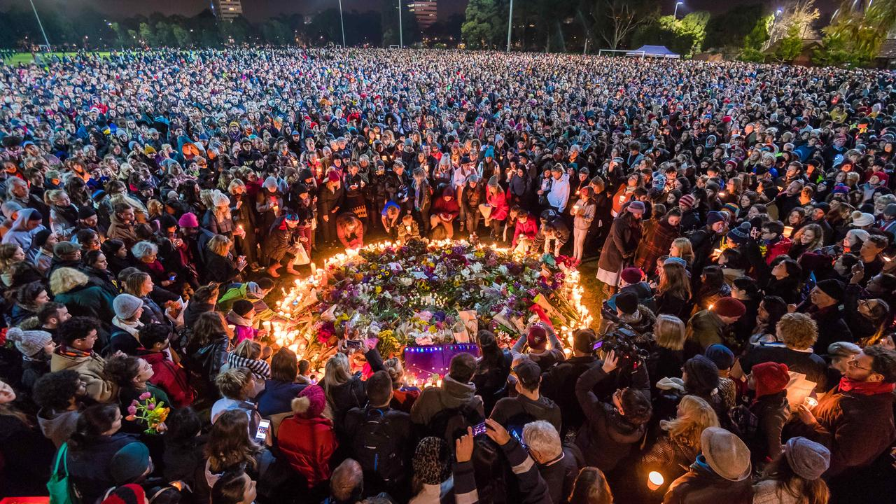 The brutal stalking, rape and murder of young Melbourne comedian Eurydice Dixon, 22, in a Melbourne park in June 2018 - as she walked home from a performance - shocked the country. An estimated 10,000 mourners braved the cold to attend a candlelight vigil at Princes Park, where her body was found. Jaymes Todd, 20, was sentenced to at least 35 years in jail for Ms Dixon's death.