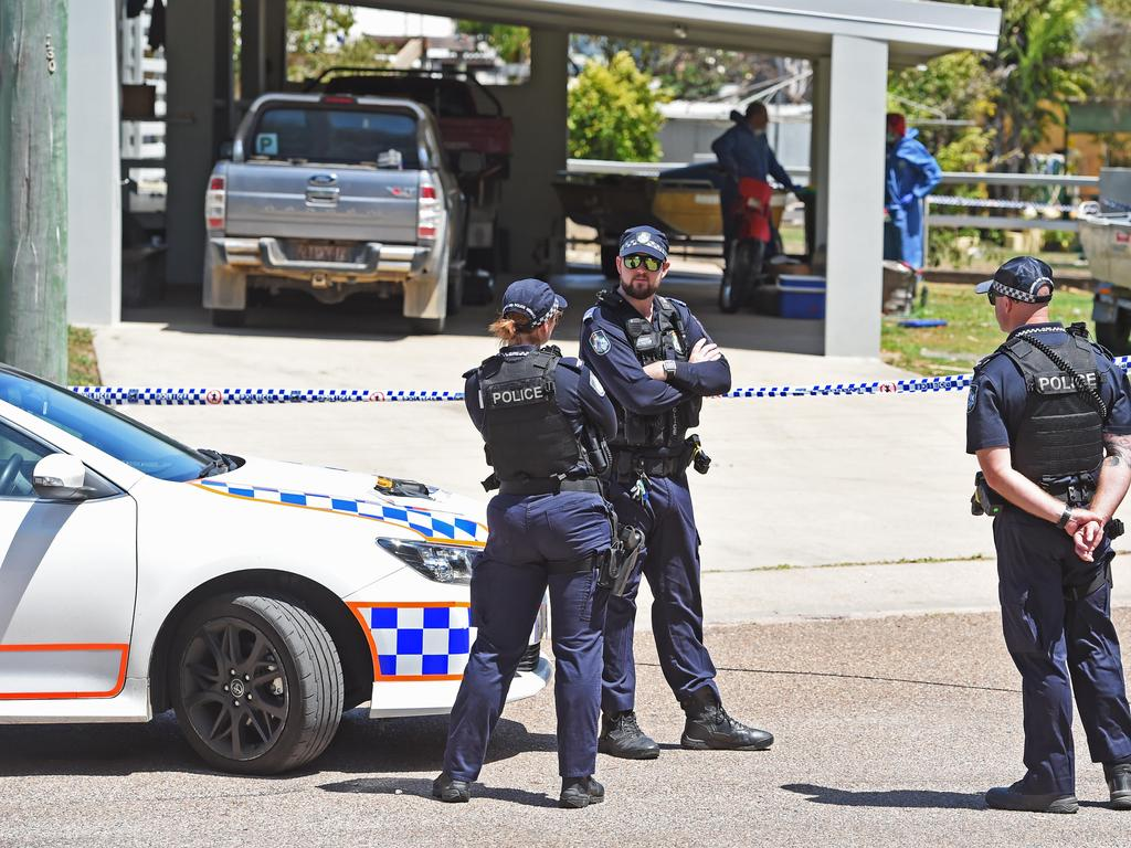 Police set up a Crime scene at Topton Street, Alva Beach after two people died, one person was injured and one person was taken into custody. Picture: Zak Simmonds
