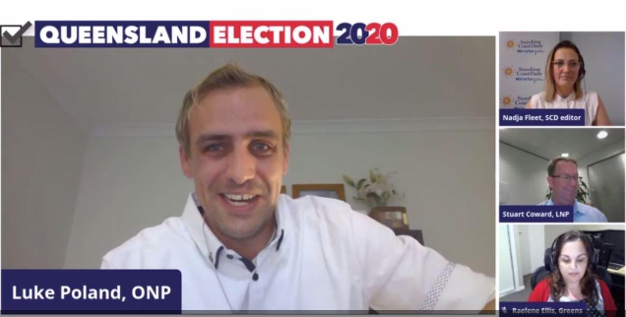One Nation's Luke Poland, the Greens' Raelene Ellis, LNP's Stuart Coward and Sunshine Coast Daily editor Nadja Fleet during Tuesday night's election livestream.