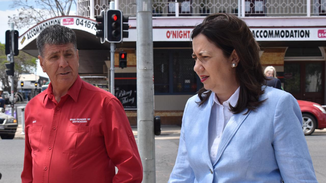 (L) State Member for Maryborough Bruce Saunders with Queensland Premier Annastacia Palaszczuk in Maryborough. Photo: Stuart Fast