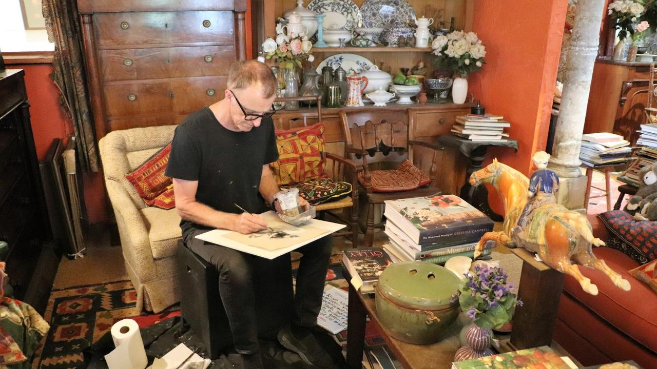 Nicholas Harding in the re-creation of Margaret Olley's home studio at the Tweed Regional Gallery & Margaret Olley Art Centre.