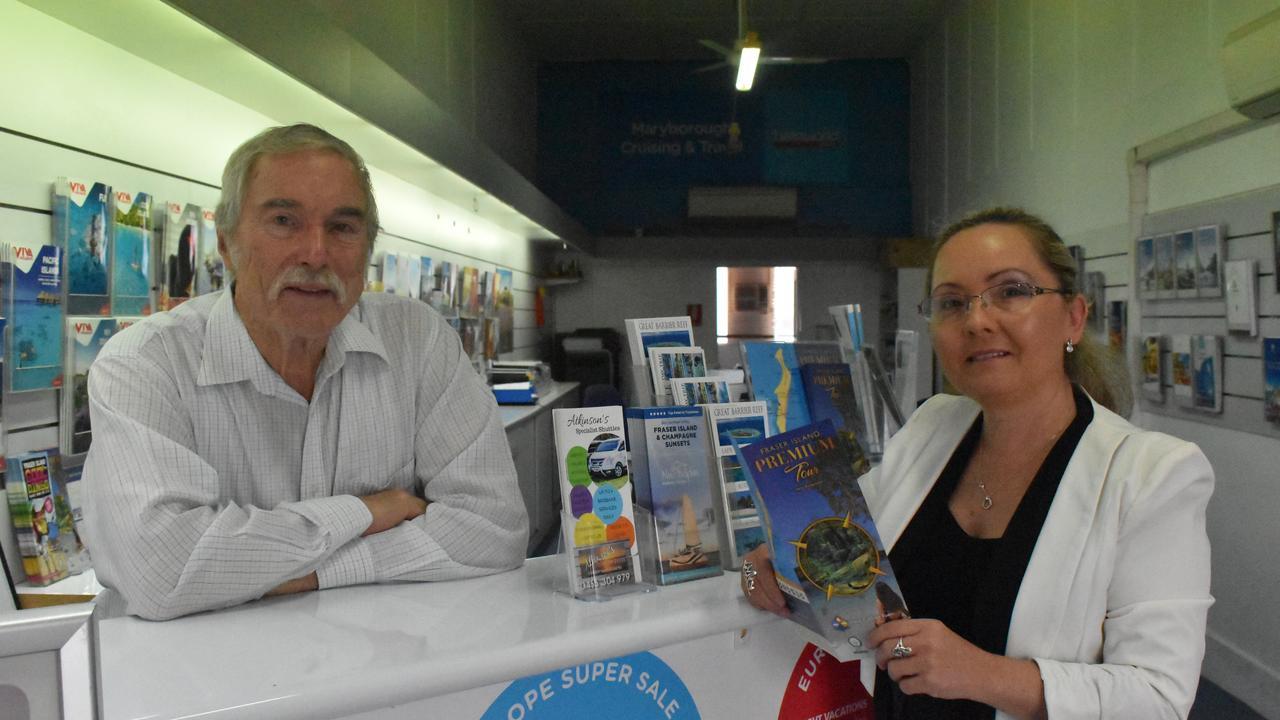 (L) Merv Hastings and Edyta Brummell from Maryborough Travel and Cruising. Photo: Stuart Fast
