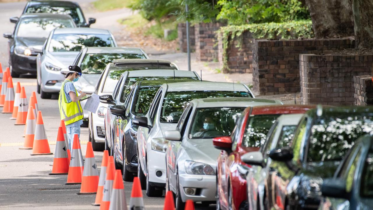 A drive-through testing centre in Leichhardt, Sydney on Monday. Picture: NCA NewsWire / James Gourley
