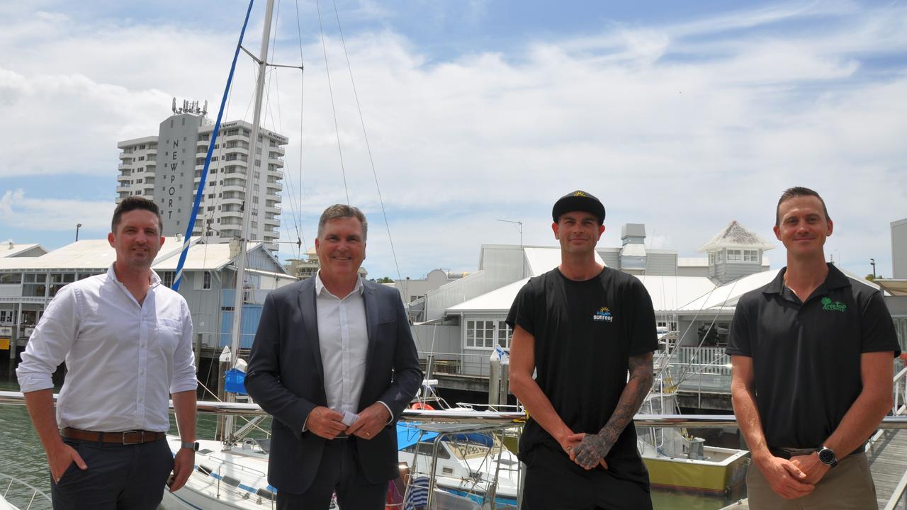 Wotif's Chris Milligan, Visit Sunshine Coast interim CEO Craig Davidson, Sunreef's Dan Hart and Treetop Challenge director David Taylor.
