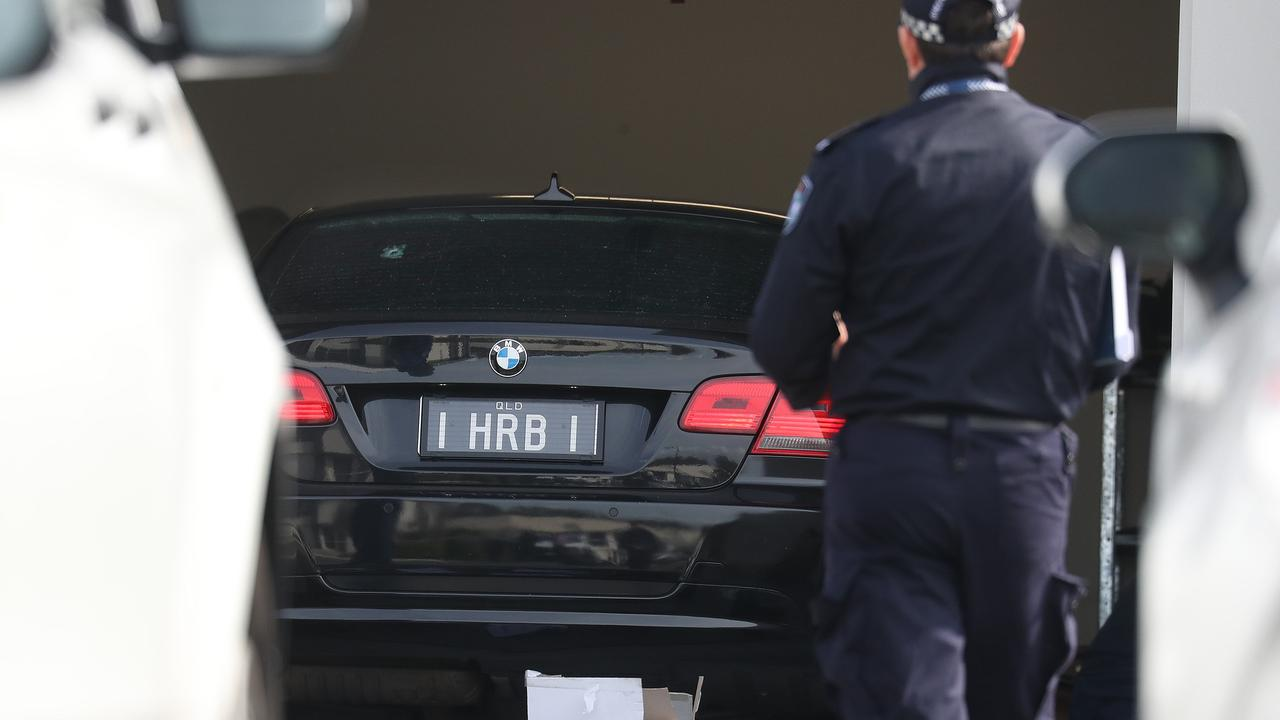 A bullet hole can be seen in the car where Shane Bowden was shot dead. Picture: Annette Dew