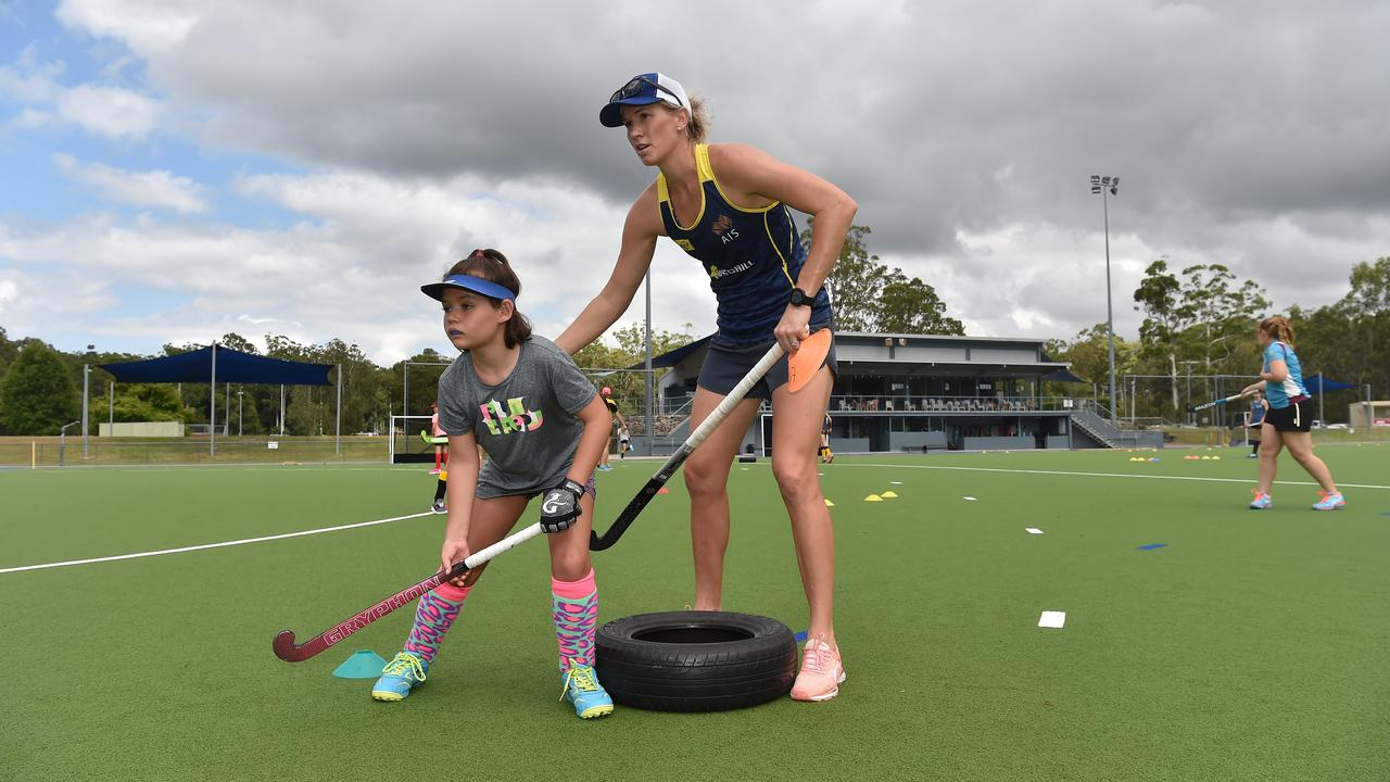 Olympian Jodie Kenny with Sarah Chilton at Sunshine Coast Hockey's home base on Ballinger Rd last year for a junior training camp hosted by four-time Olympian Mark Knowles. Picture: Warren Lynam