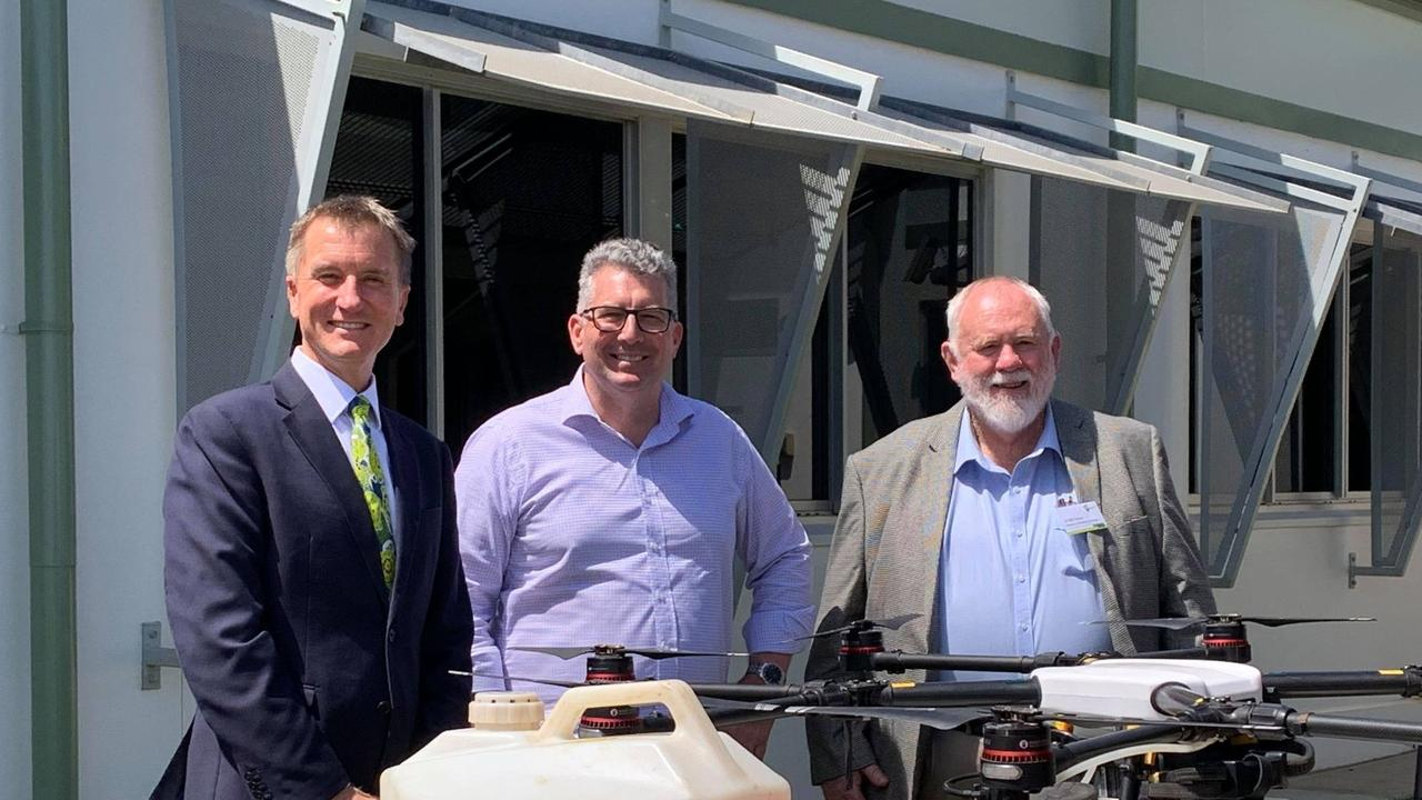 AGTECH: Vice-Chancellor and president of CQUniversity Australia Professor Nick Klomp, Minister for Water, Resources and Northern Australia and Federal Member for Hinkler Keith Pitt, and Deputy Mayor Bill Trevor at the new Ag-Tech facility in Bargara.