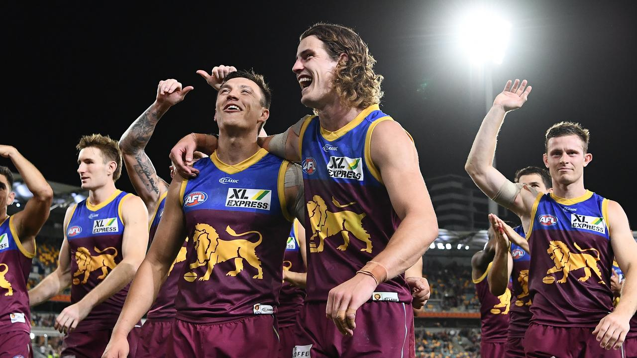 The Lions celebrate their first win over the Tigers since 2009. Picture: Quinn Rooney/Getty Images