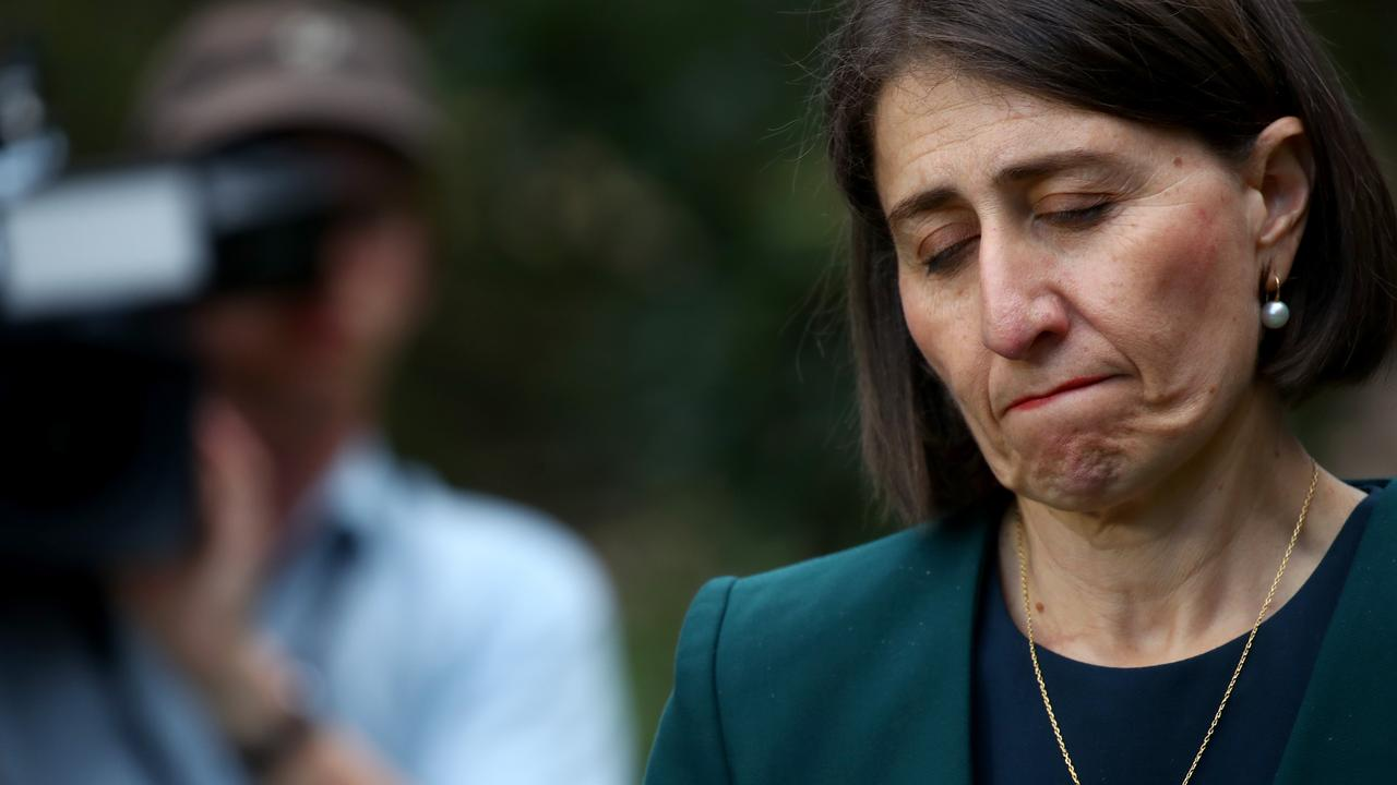Premier Gladys Berejiklian holds a press conference after revealing she had been in a 'close personal relationship' with former MP Darryl Maguire who is being investigated by ICAC. Picture: Toby Zerna