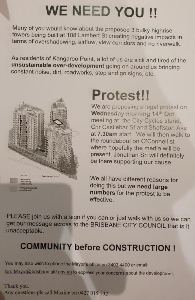 A flyer for the planned protest on Wednesday morning.