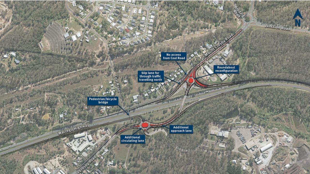 Proposed Warrego Highway – Mount Crosby Road Interchange Upgrade.