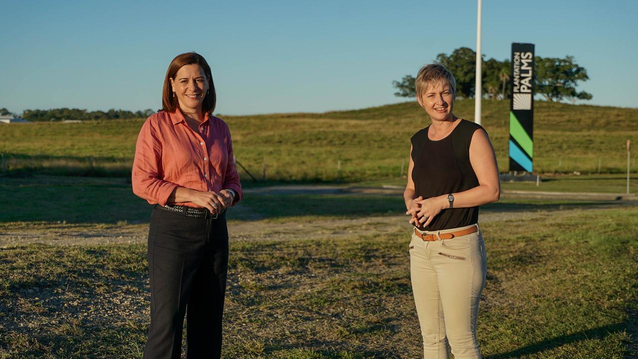 LNP leader Deb Frecklington with the party's Whitsunday candidate Amanda Camm in the Northern Beaches. Picture: supplied