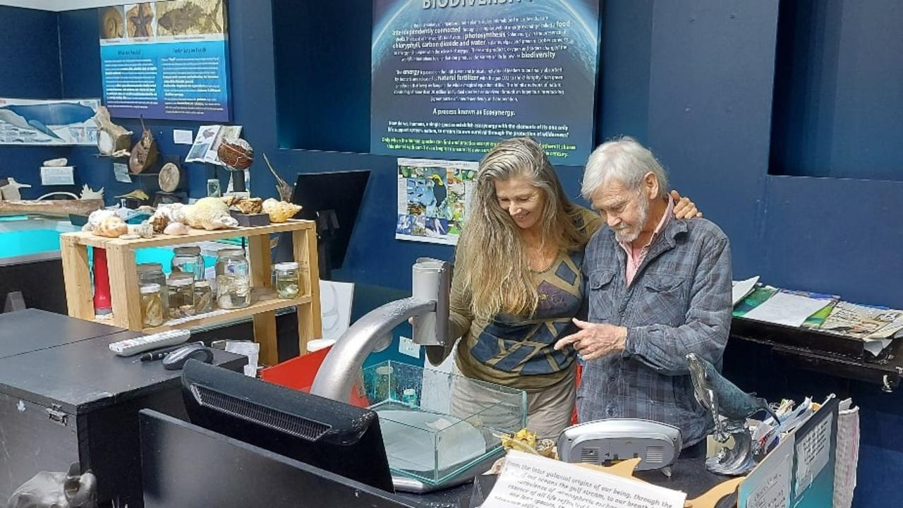 Ted Brambleby and Kerrie Trees at the Marine Discovery Centre at Hastings Point.