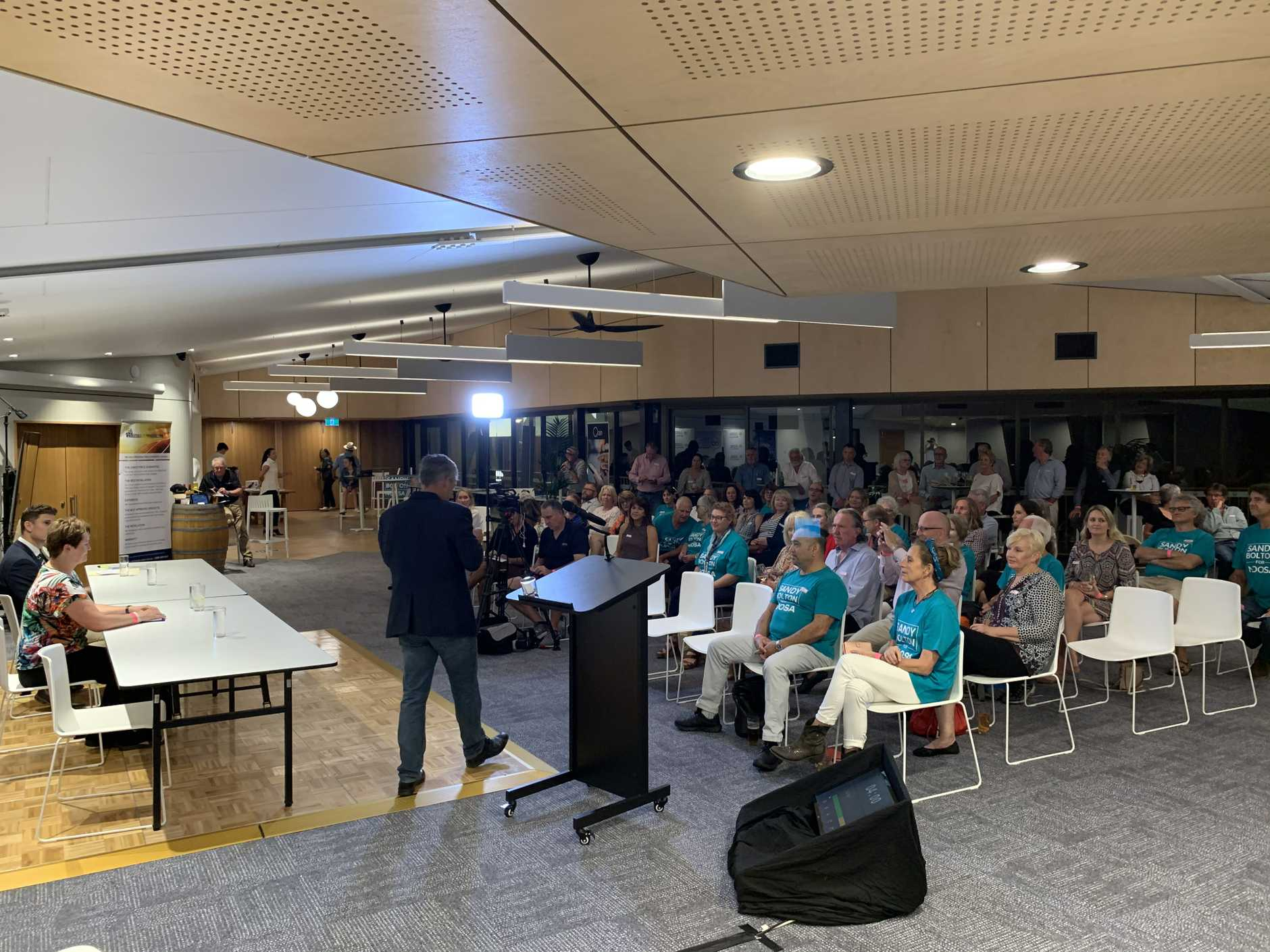 The Noosa community listens in for a state election forum at Sunshine Beach Surf Club.