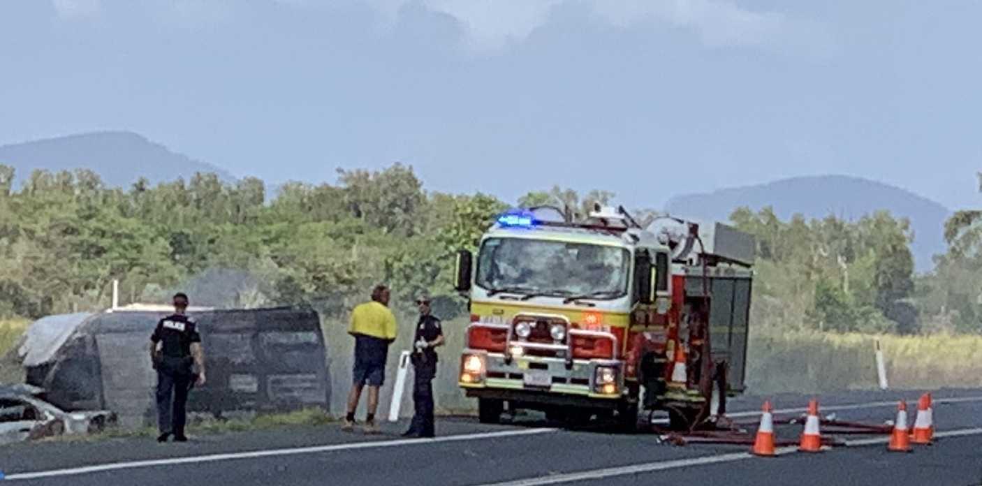 A Queensland Police spokesman said the crash was between a van and a hatchback.