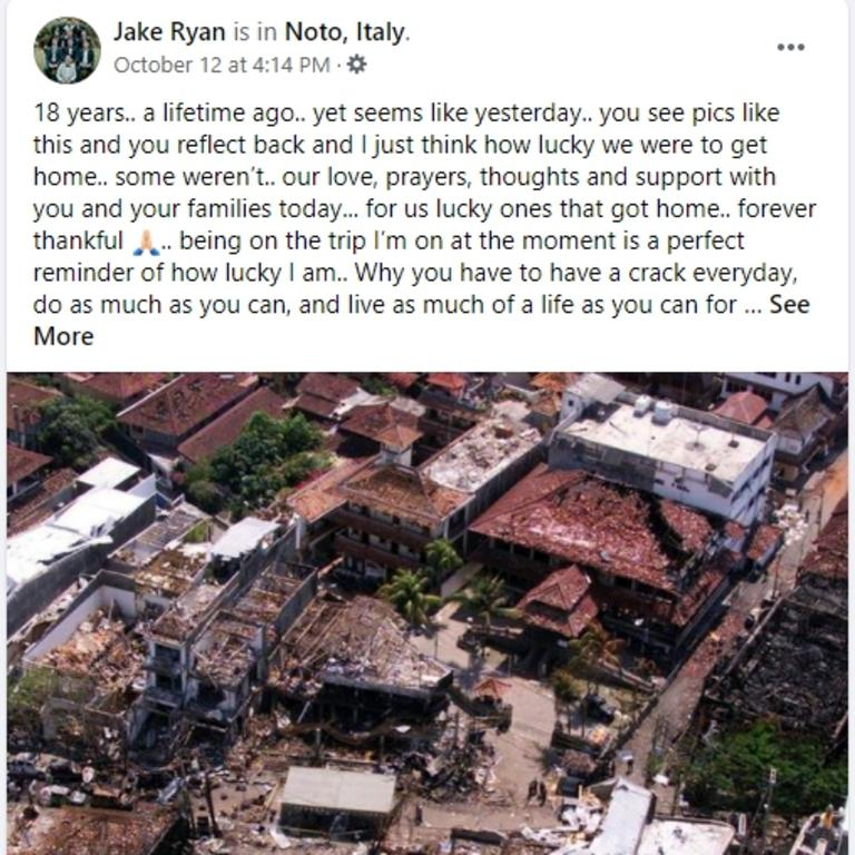 A Facebook post written just days ago by Gold Coast Bali bombing survivor Jake Ryan. Picture: Facebook.
