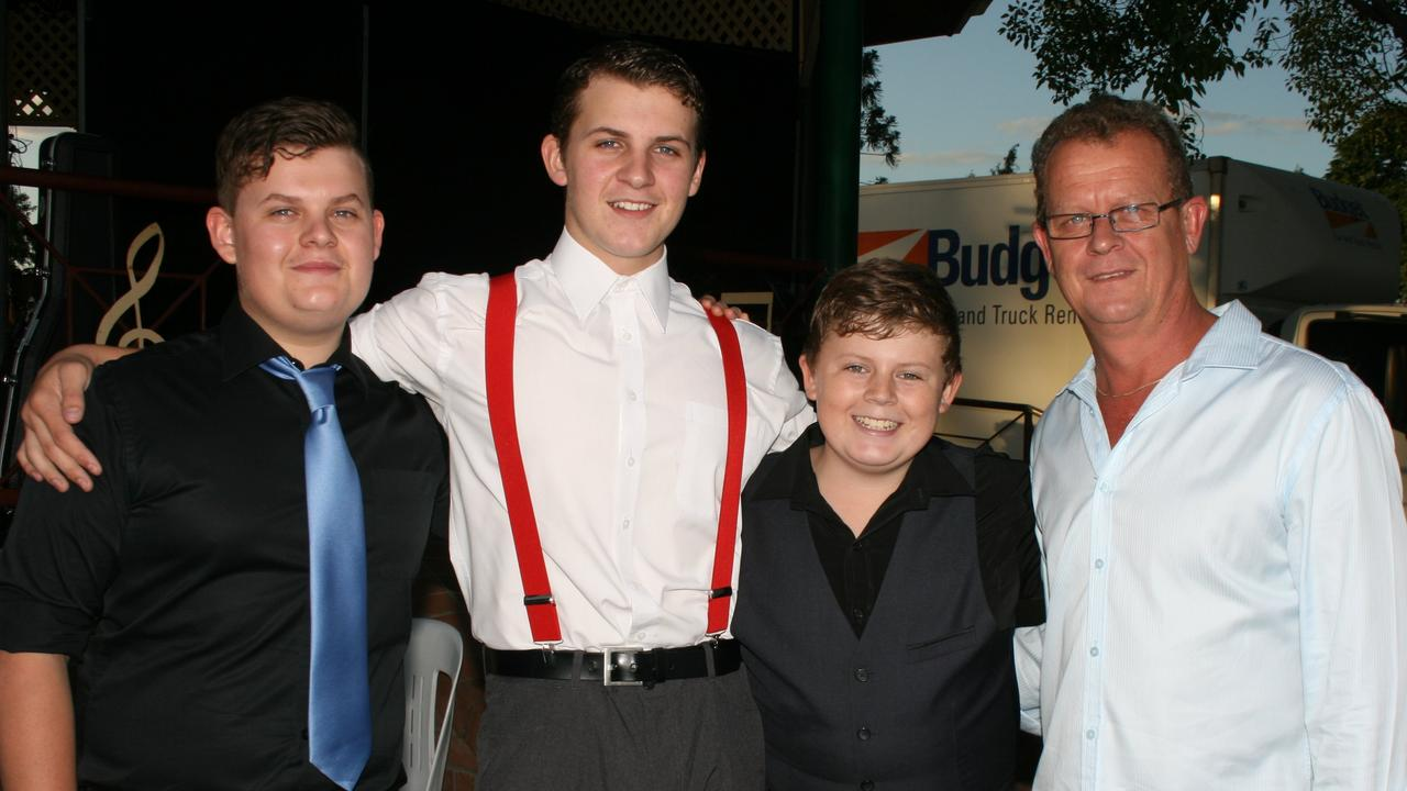 LONGTIME SUPPORTERS: Performers Ben, Clayton, Morgan and Phil Vellacott have been longtime performers at the Warwick Carols, pictured here in 2012. Photo Deanna Millard / Daily News