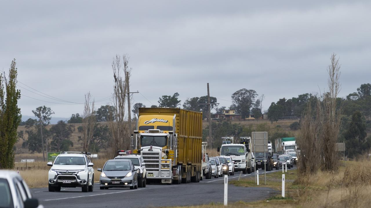 BREAKING: Truck loses load, Warrego at stand still. Picture: Kevin Farmer