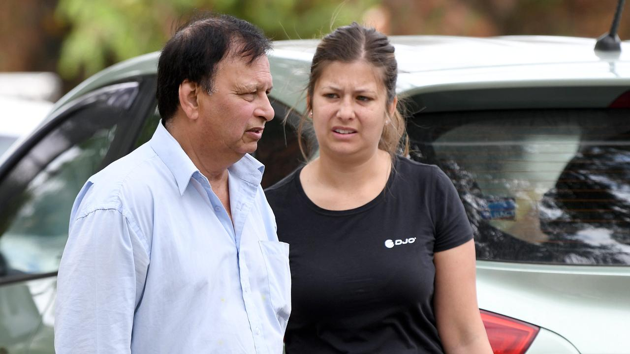 The father and half-sister of the victim at the scene in Wentworthville. Picture: NCA NewsWire/Bianca De Marchi