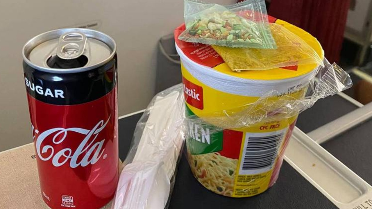 The cup noodles offered to business class passengers on a Virgin Australia flight.