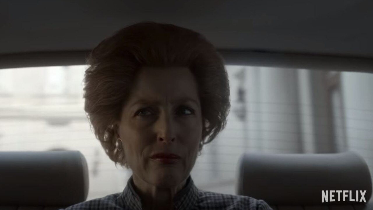 Gillian Anderson as the Iron Lady herself in The Crown.