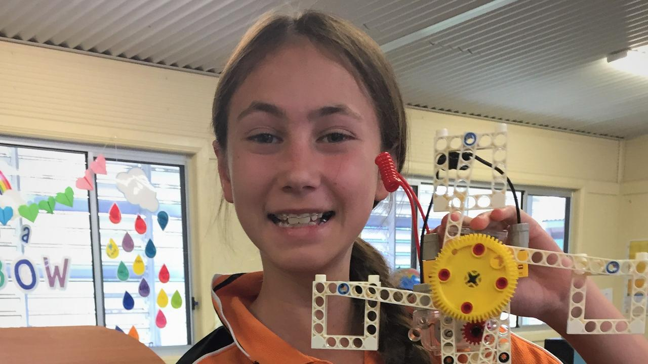 Prospect Creek State School students using STEM skills to build robots and wind turbines using solar energy.