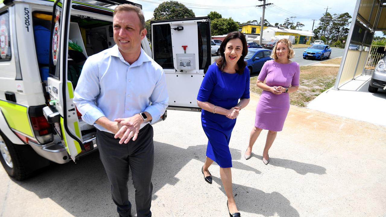 Queensland Premier Annastacia Palaszczuk (centre) and her deputy Steven Miles (left) on the hustings at a Bribie Island ambulance station. Picture: NCA NewsWire / Dan Peled