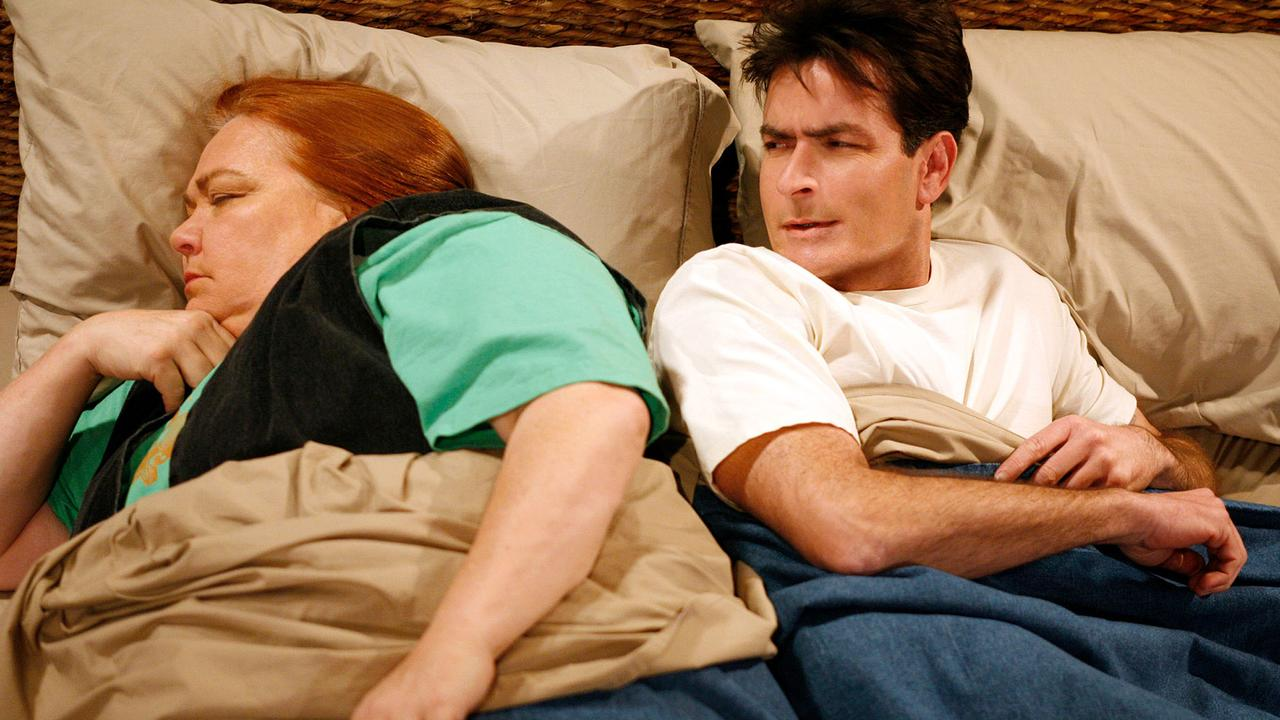 Conchata Ferrell and Charlie Sheen. Picture: Moviestore Collection