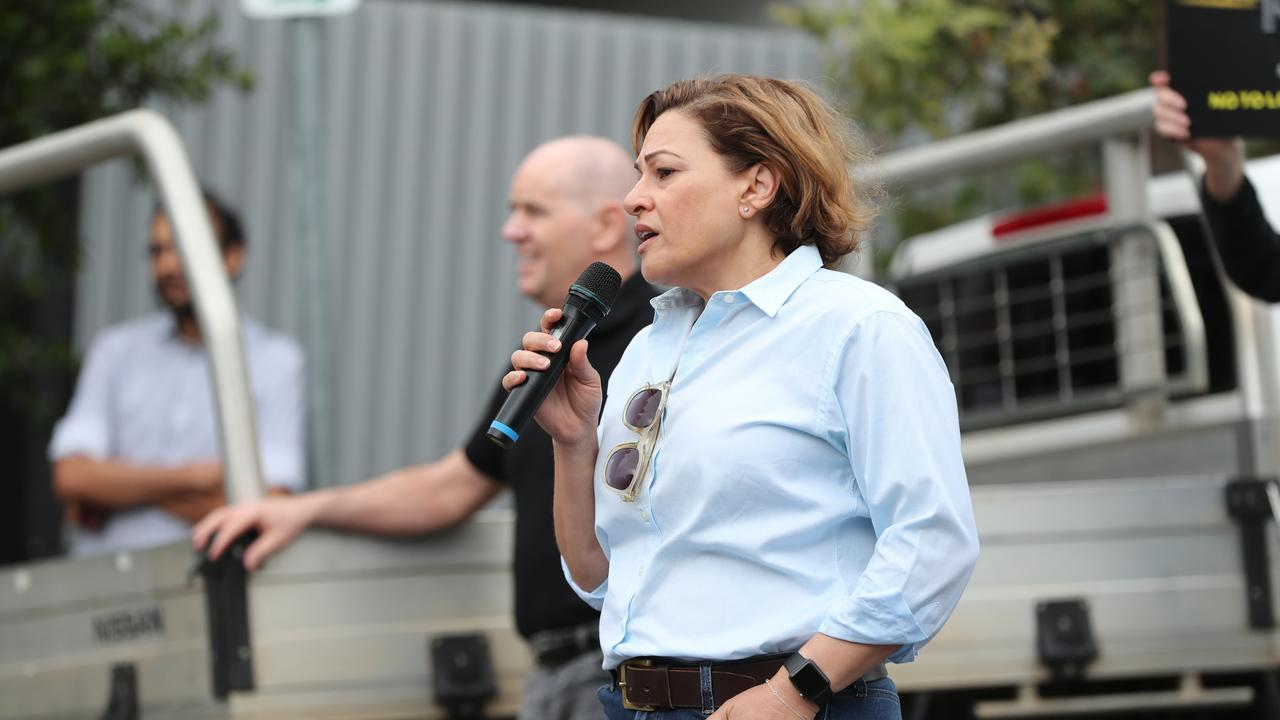 Jackie Trad joins locals in protest over a development at Kangaroo Point. Picture: Peter Wallis