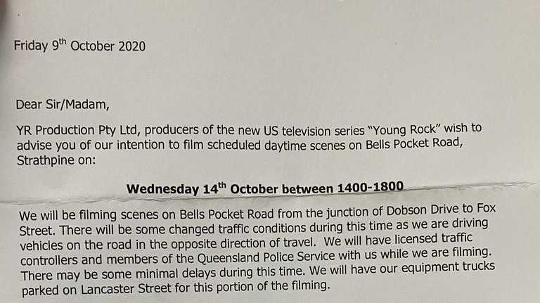 A letter sent to residents for Young Rock filming in Strathpine. Picture: supplied
