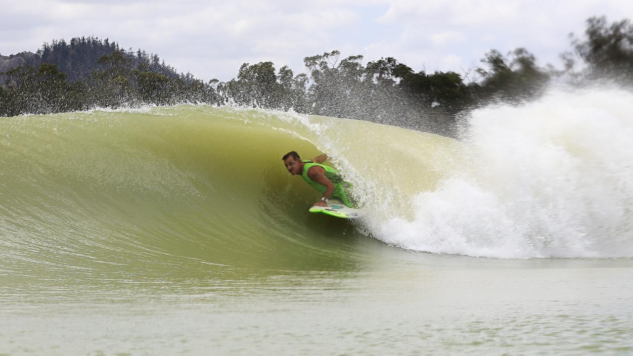 WOULD THIS WORK IN LISMORE? Mark Mono Stewart in the barrel at the 5 Waves Surf Lake.