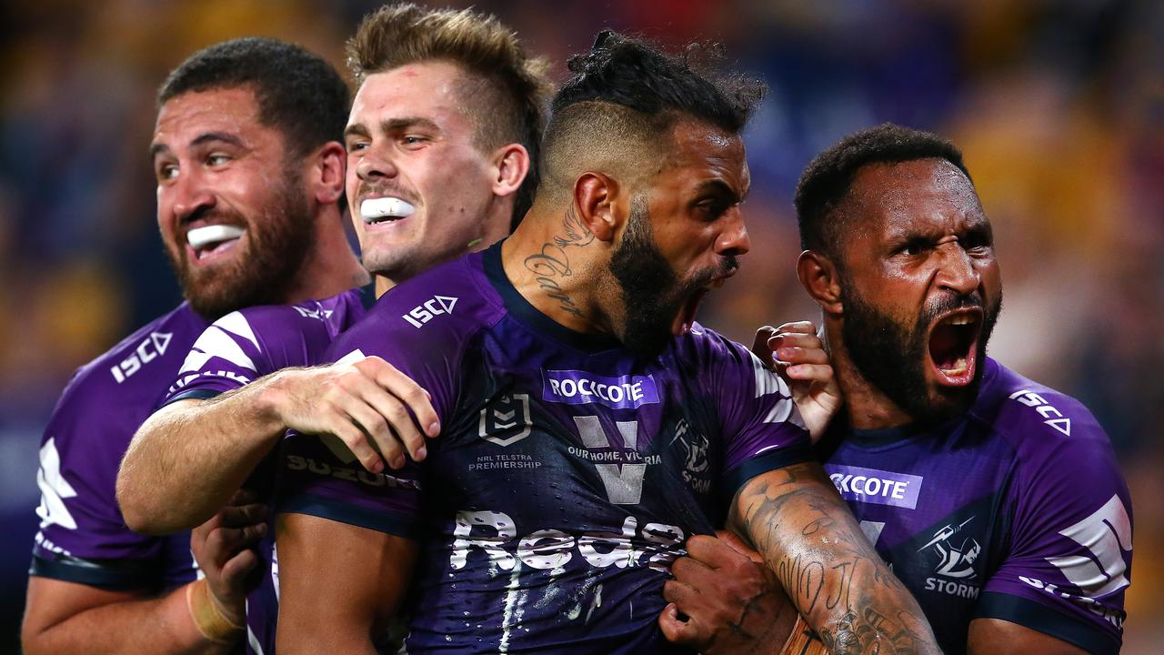 Josh Addo-Carr (second right) celebrates a try with teammates during the NRL Qualifying Final. Picture: Getty Images