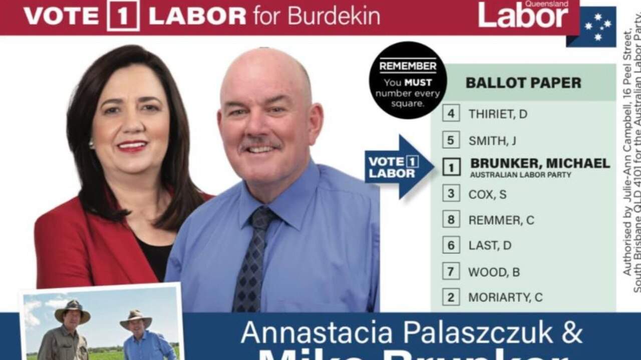 Labor candidate for Burdekin Michael Brunker's how-to-vote card.
