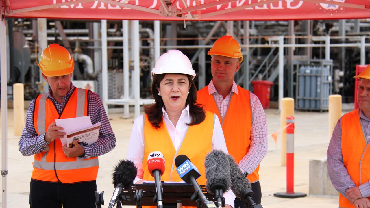 Premier Annastacia Palaszczuk, Treasurer Cameron Dick and Gladstone MP Glenn Butcher during a media conference at Southern Oil's Yarwun refinery on October 14, 2020. Picture: Rodney Stevens