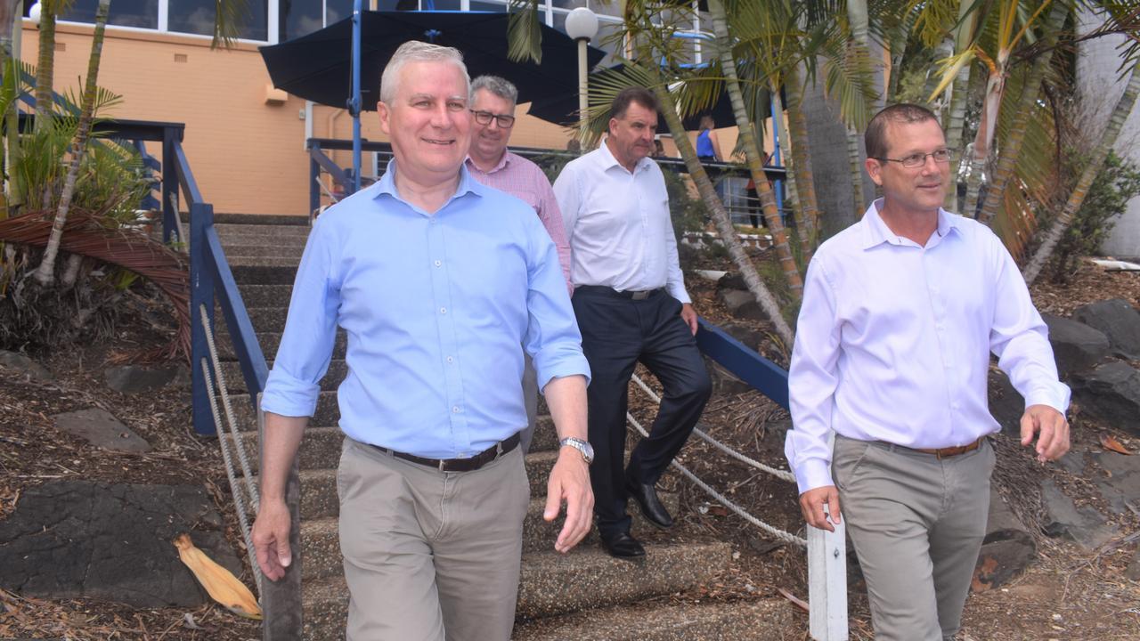 REGIONAL ROADSHOW: Deputy Prime Minister Michael McCormack, Hinkler MP Keith Pitt, Burnett MP Stephen Bennett and Bundaberg MP David Batt at Rowers on the River today.