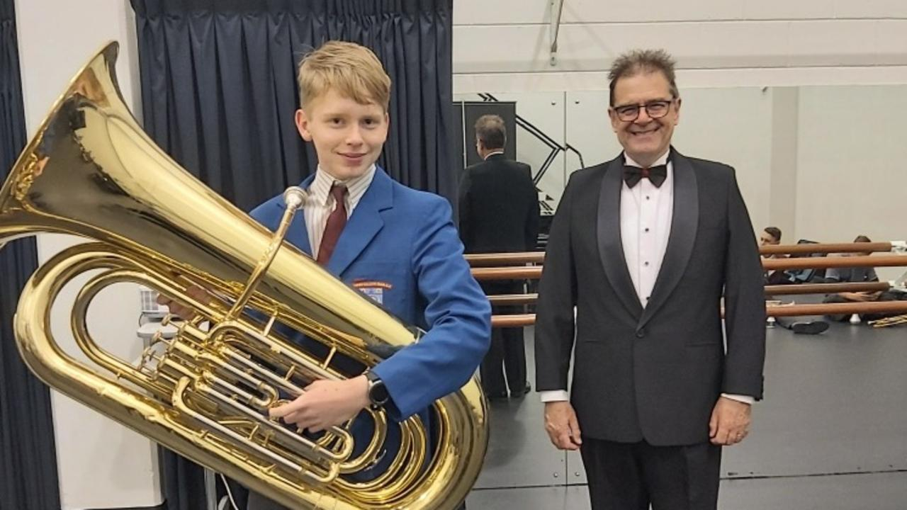 Emerald tuba player Drew Ferguson with conductor Ralph Hultgren at Griffith University's Queensland Conservatorium of Music State Honours Ensemble Program (SHEP) Queensland.