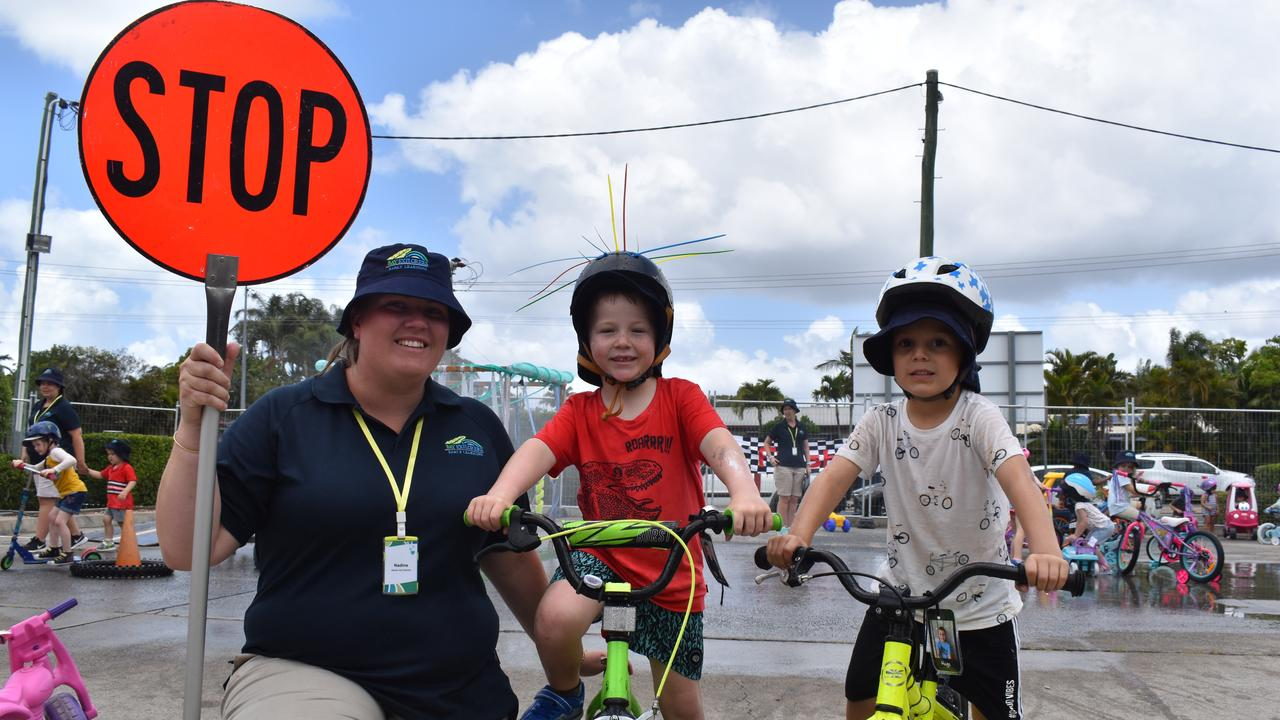 ROAD SAFETY: Director Nadine Moore with preschoolers Cooper Allen and Hugo Dilegge during the centre's road safety activities. Photo: Stuart Fast