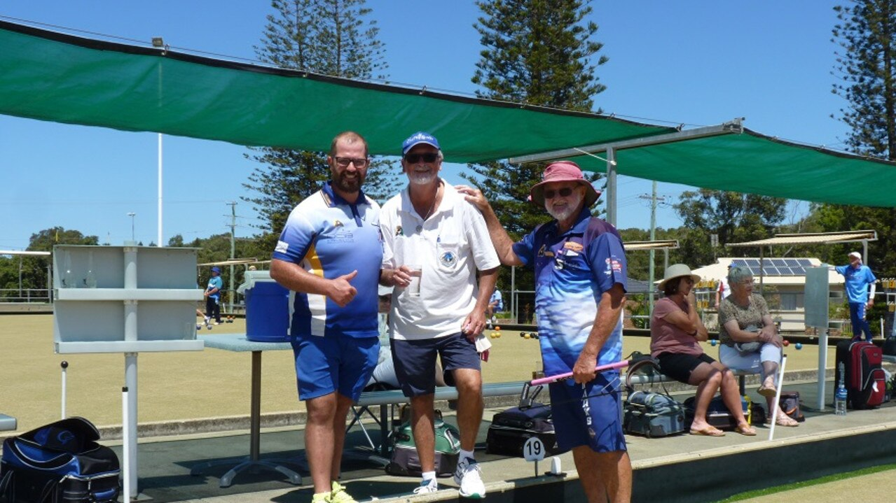 2 - Jason Witney (Scone) Peter Forreseter (Yamba) & Terry Lee (Cabaritta Beach) enjoying the competition at the 2020 Yamba Classic Pairs