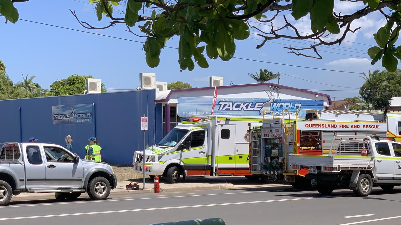 Emergency services on scene outside the Gladstone Yacht Club this afternoon.