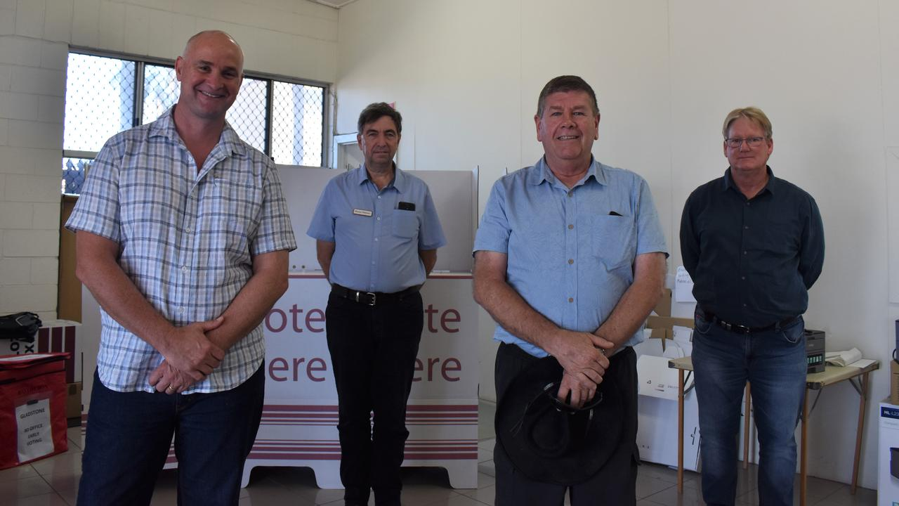 Candidates running for the seat of Gladstone at the ballot draw: Glenn Butcher for Labor, Murray Peterson independent, Ron Harding LNP and Kevin Jorgensen for One Nation. Absent Emma Eastaughffe for The Greens.