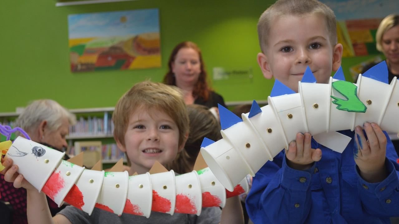 Mitchell Groth and Joshua Lamping with their creations from school holiday craft at Kingaroy Library. (Photo: File)