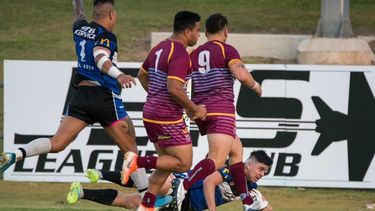 Tries flow when the grand final favourites Goodna Eagles run the football. Picture: Bruce Clayton